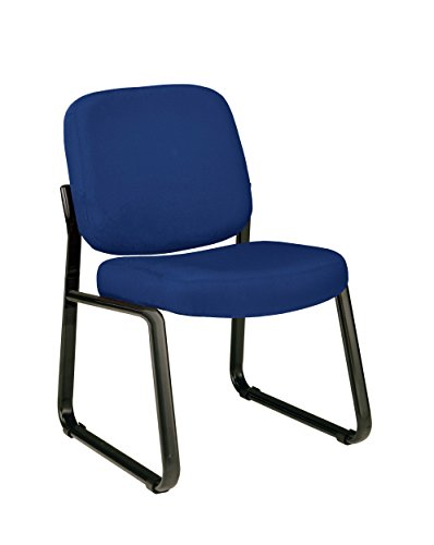 OFM Upholstered Armless Guest / Reception Chair, Navy Armless Vinyl Guest Chair