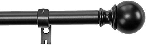 "AmazonBasics 1"" Curtain Rod with Round Finials, 72"" to 144"", Black"