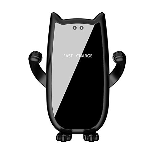 - HankuQi 10W Wireless Charger Dock Car Holder Charging Mount Pad Automatic Induction (Black, with Suction Cup Bracket)