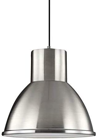 Sea Gull Lighting 6517401-962 Division Street One-Light Pendant Hanging Modern Light Fixture, Brushed Nickel Finish