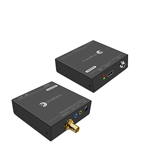 gofanco Prophecy 1080p HDMI Extender Kit Over a Coaxial Cable - 120m (394ft) @1080p 60Hz HDMI Over Coax, Bi-Directional IR, EDID,6.75Gbps, 7.1ch Audio (PRO-CoaxExt) ()