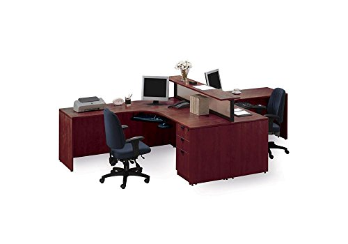 Harmony Cherry - Harmony Cherry Two Person Workstation with Divider - 142