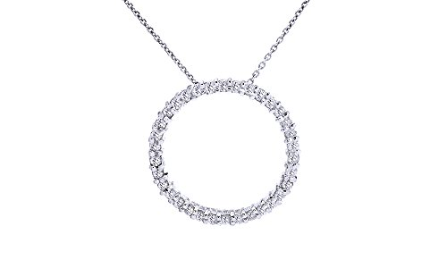 AFFY White Natural Diamond Circle Life Pendant Necklace in 14k White Gold Over Sterling Silver (1 Ct) ()