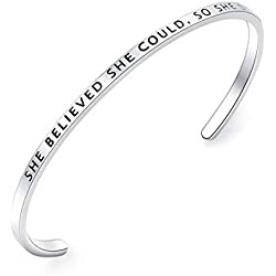 Inspirational Bracelet Cuff Bangle Mantra Quote Keep Going Stainless Steel Engraved Motivational Friend Encouragement Jewelry Gift for Women Teen Girls Sister (Thin-She believed she could so she did)