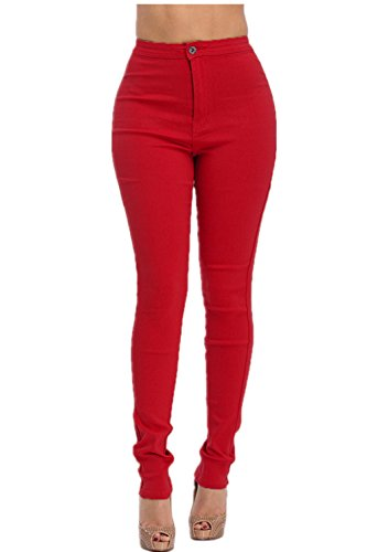 LOVER BRAND FASHION High Rise-Waisted Ladies Women Multi-Color Stretch Skinny Jeans Pants Olive Grey Mustard(Push UP) (M, Red)