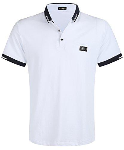 Regular Fit Tee - Musen Men Short Sleeve Polo Shirt Cotton Regular Fit T-Shirts White L