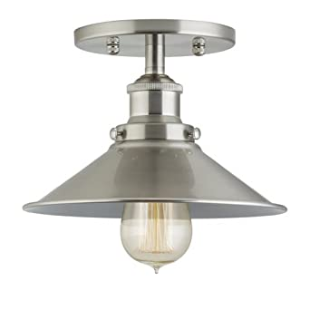 Amazon fixture only brushed nickel linea di liara andante fixture only brushed nickel linea di liara andante industrial factory semi flushmount mozeypictures Choice Image