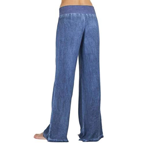 Denim Pantalons Latérales Poches Élastique Lâches Jeans Haute Femmes Pour Dame Jambes Taille Palazzo Casual Larges Blau UYx1qYS