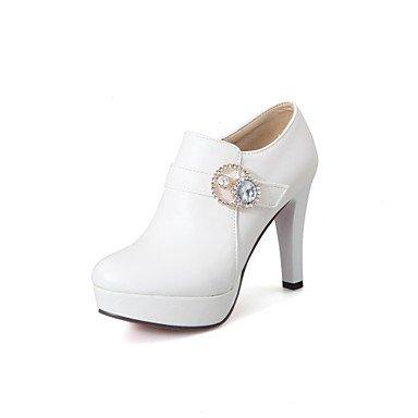 Tacones mujer Verano Otoño Comfort polipiel vestir casual hebilla Stiletto talón caminando White
