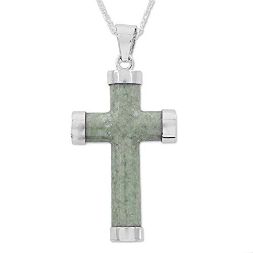 NOVICA Light Green Jade .925 Sterling Silver Cross Pendant Necklace,18
