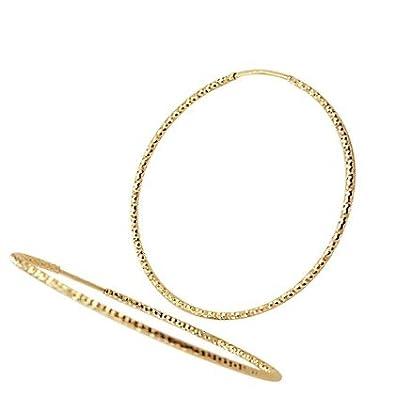 Amazon 14k Yellow Gold Big Hoop Earrings Diamond Cut 2