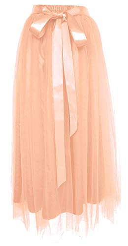 Dancina Women's Ankle Length Tutu Maxi A-line Long Tulle Skirt Plus (Size 12-22) Ballet Pink]()