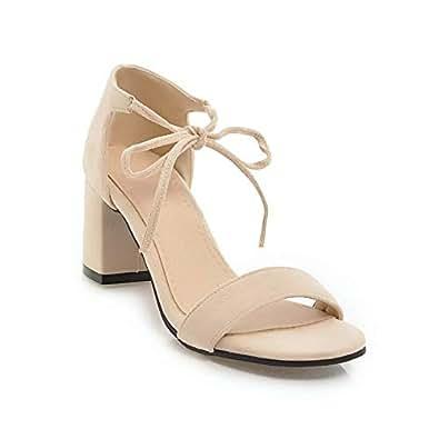 BalaMasa Womens ASL06028 Comfort Frayed-Seams Peep-Toe Beige Pu Heeled Sandals - 2 UK (Lable:33)