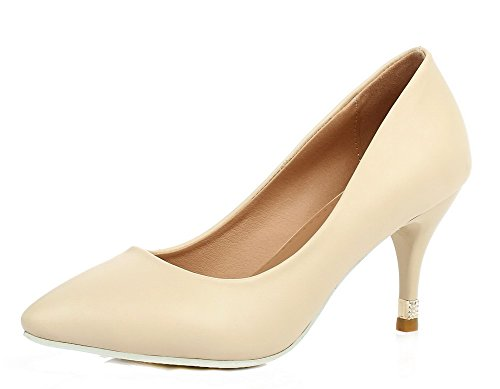 Women's Heels WeenFashion Toe Shoes Microfiber Kitten Pointed Beige Pumps 7q6wHdg