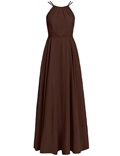 Abendkleider Falten Ballkleider Schokolade Hochzeit Brautjungfernkleider Lang A Chiffon Rückenfrei Linie Abschlussball Neckholder Kleider 4PnB0