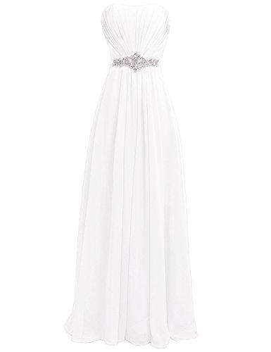 Rhinestone Abend Kleid Strapless Frauen Weiß Sch rpe Brautjunfer langes HWAN Kleid 8E6qfw0w