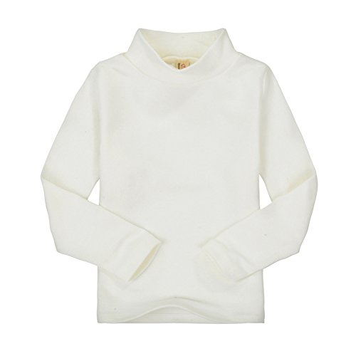CuteOn Children Unisex Solid Color Kids School Uniform Long Sleeve Turtleneck T-Shirt Beige 4 ()