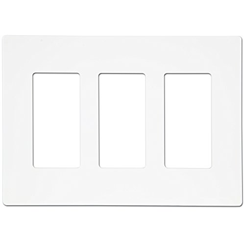 Enerlites SI8833-W Screw-less Decorator Switch Wall Plate by Child Safe Cover Plate, 3-Gang Standard Size, White - Phone Outlet Switchplate