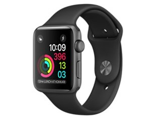 Apple Watch Series 2 42mm スペースグレイアルミニウムケースとブラックスポーツバンド