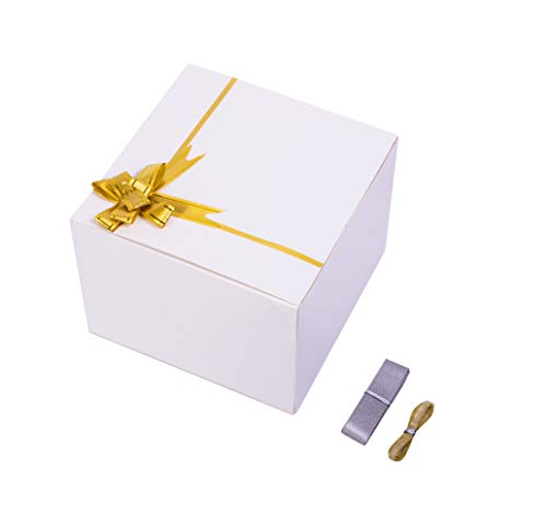 SHIPKEY 10PCS White Cardboard Gift Boxes with lids 8x8x6 Inch with Greeting Cards and Pull Bows(Golden Ribbons) | for Party, Wedding, Christmas, Holidays, Birthdays, Gift Wrap, and All Other Occasions (Cardboard Gift Boxes 8)