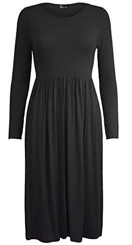 Womens 26 dress Plus 8 Colour Size Long Swing Plain Solid Black Frankie UK rwrPt