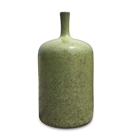 - WHW Whole House Worlds Beach Chic Bud Vase, Pale Green Glaze, Rustic Crackle Surface, Terracotta Undertones, Pencil Neck, Porcelain, 9 1/4 Inches Tall