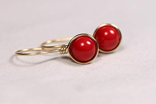 (Gold Red Coral Earrings Red Coral Swarovski Pearl Earrings Yellow Gold Or Rose Gold Wire Wrapped)