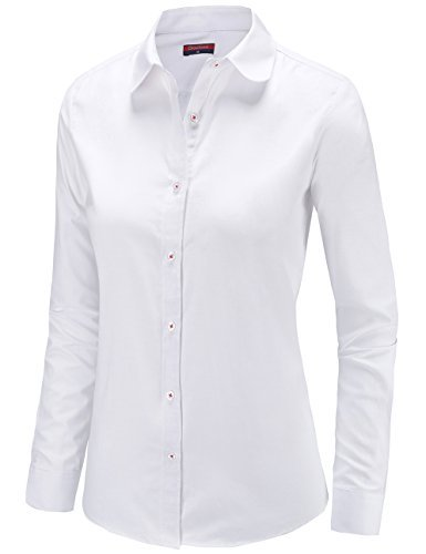 (Dioufond Womens Oxford Long Sleeve Button Down Shirts Casual Office Blouse (US S-Tag L, White))