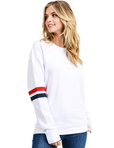 Women's Ultra Soft Fleece Stripe on Sleeves Varsity Solid Sweatshirt, White, Small
