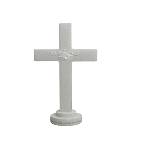 - DaySpring White Porcelain Cross Cake Topper, 7.5 x 5 Inches