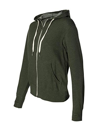 Sweatshirt Hooded Terry - Independent Trading Co. PRM90HTZ Unisex French Terry Heathered Hooded Full-Zip Sweatshirt Olive Heather L