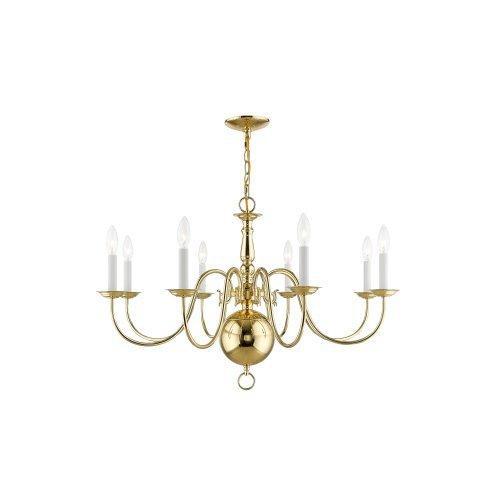 Livex Lighting 5007-02 Williamsburg 8-Light Chandelier, Polished (Eight Candle Polished Brass Chandelier)