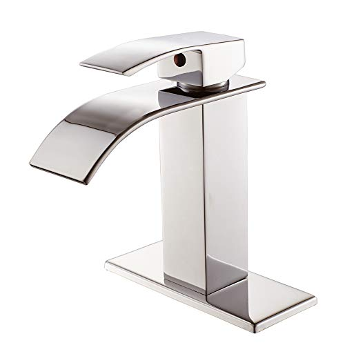 Review Of Waterfall Spout Single Handle Bathroom Faucet Brushed Nickel Commercial Modern Lavatory De...