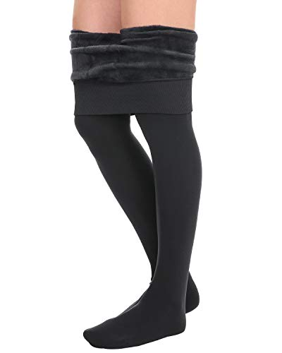 NORMOV Fleece Lined Stocking Leggings Women - Winter Thick Tights for Women, High Waisted Gray (Plus Size Stockings Lined)