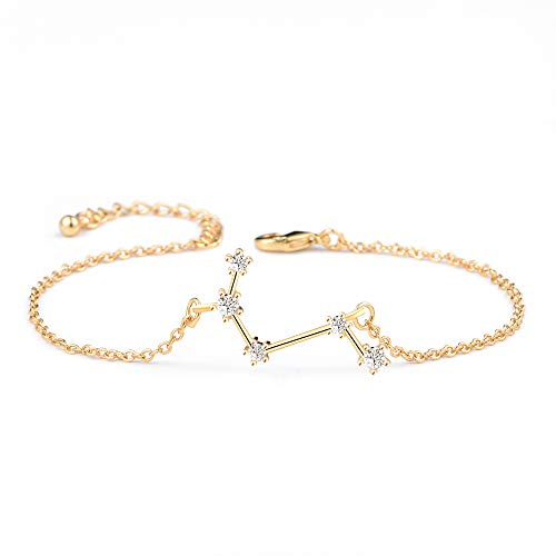 BOCHOI Constellations Gold Aries Zodiac Sign Bracelet for Women Girls Bracelet Astrology Horoscope CZ Jewelry for Mother Daughter BFF Bridesmaid Birthday Gift Adjustable Chain 7+1