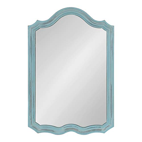 (Kate and Laurel Abrianna Decorative Vintage Rustic Farmhouse Arch Shape Wall Mirror, Antique Blue Finish, 24x36-inches)