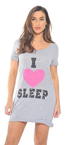 Just Love Sleep Dress for Women / Sleeping / Dorm Shirt / Nightshirt,Grey - I Heart Sleep,3X Plus ()