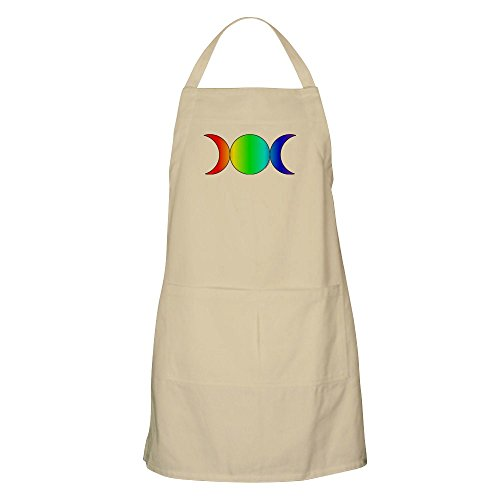 CafePress Triple Moon BBQ Apron - Rainbow Kitchen Apron with Pockets, Grilling Apron, Baking Apron