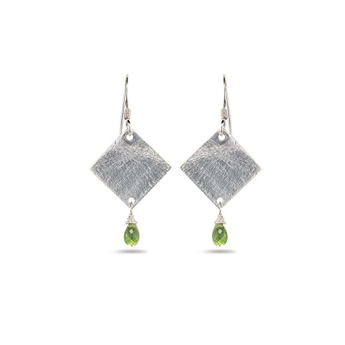 1.50 Cts Peridot Diamond-Shaped Earrings in Sterling Silver - Valentine's Day Sale