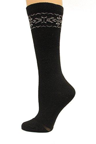 (Wise Blend Angora Flower Knee High Socks, 1 Pair, Black, Medium, Shoe Size W 6-9 )