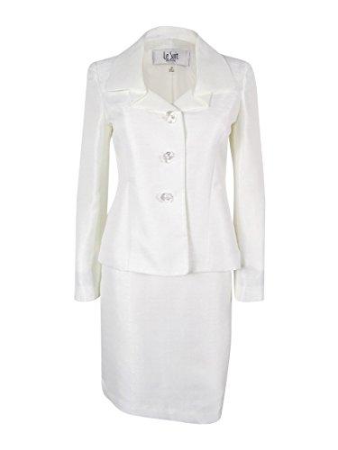 Le Suit Women's Prague Skirt Suit (4P, Vanilla (Fully Lined Petite Suit)