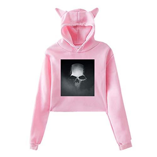 HiPiClothK Womens Halloween Ghost Recon Wildlands Skull Logo Funny Comfortable Printing Long Sleeve Crop Top Cat Ear Hoodie -