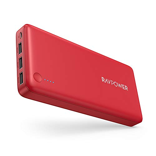 Power Bank RAVPower 26800 Portable Charger 26800mAh Total 5.5A Output 3-Ports External Battery Packs (2.4A Input, iSmart 2.0 USB Power Pack) Portable Phone Charger Compatible with iPhone, Ipad