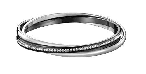 Ceranity - 903-065.N - Bracelet Jonc Femme - Acier inoxydable - Céramique - Cristal - Noir/Blanc - 65 cm