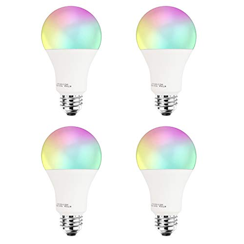 Smart LED Light Bulb A19 by 3Stone, WiFi App Controlled UL Listed, Dimmable Warm White and RGB Colors 60W Equivalent, Works Perfect with Amazon Alexa Google Assistant IFTTT (4 Pack)