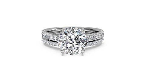 Solitaire 1.50ct Round Brilliant Cut Diamond 10k White Gold Engagement Wedding Ring Band Set,All US Size 4 to 12 available