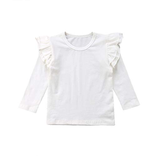 Mubineo Toddler Baby Girl Basic Plain Ruffle Sleeve Cotton T Shirts Tops Tee Clothes (White(Long Sleeve), 6-12 Months) ()