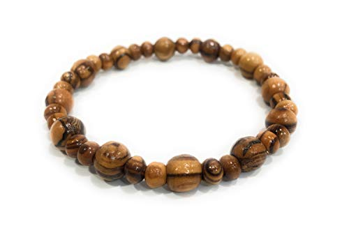 ToyzMarket Handcrafted from Bethlehem Olive Wood Beads Bracelet Handmade w/ 8mm/5mm Beads + Certificate of Authenticity Handmade Elastic Stretches Unique Beads Holyland