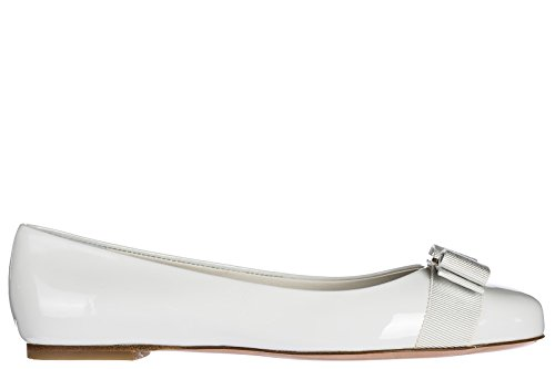 Salvatore Ferragamo Women's Leather Ballet Flats Ballerinas Varina White US Size 7.5 0685249 (Leather Ferragamo White)