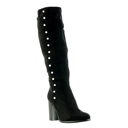 high heel Kavalier CM Blockabsatz Schwarz Schuhe 9 Perle Angkorly Stiefel damen Reitstiefel wx188Z0q